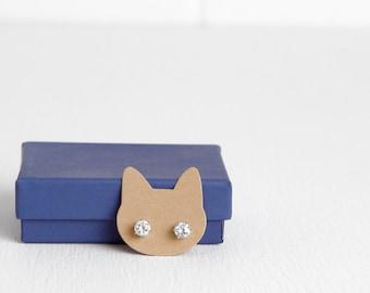 "30 Rabbit Kraft Earring Cards, Stud Earring Cards, Bunny Woodland Cat Animal Theme, 1.3"" x 1.4"""