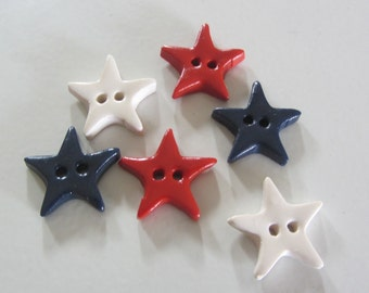 Simple Patriotic Star Buttons ~ Set of 6