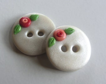Pearly Donut Flower Buttons ~ Set of 2