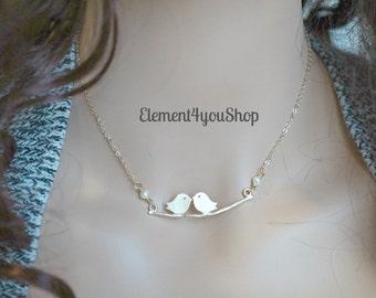 Couple gold birds pendant necklace, Lovebird necklace , Love Birds Pendant Necklace , twin bird necklace , birdie necklace , tweety necklace