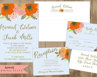 Printable Wedding Suite Invitation - Reply card - Reception Card - Envelope Templates Vintage Flowers  Orange Persimmon Peach Pink Pale blue