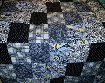 Black and Yellow Squares Quilt SALE PRICED