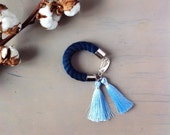 SALE -20% RIVIERA silk tassel bracelet. Indigo blue. Navy. Midnight.Light blue
