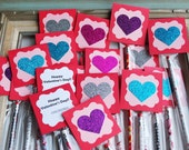 Kids Heart Birthday Pencil Favor/ Classroom Exchange/ Party Goodie Bag / Gift Tag / Heart / Birthday / Glitter Heart Personalized Valentine