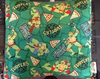Teenage Mutant Hero Turtles cushion upcycled repurposed