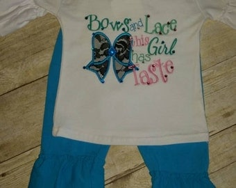 Girls bow and lace applique boutique shirt and pants