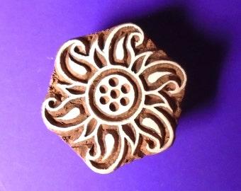 Flower Sun Wood Stamp Indian Round Print Block (FL12)