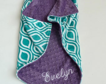 Personalized Minky Baby Blanket - Dolce Vita Oceano Teal Minky - Baby Girl or Boy - Custom Made - You Choose Back Minky Color - Double Minky
