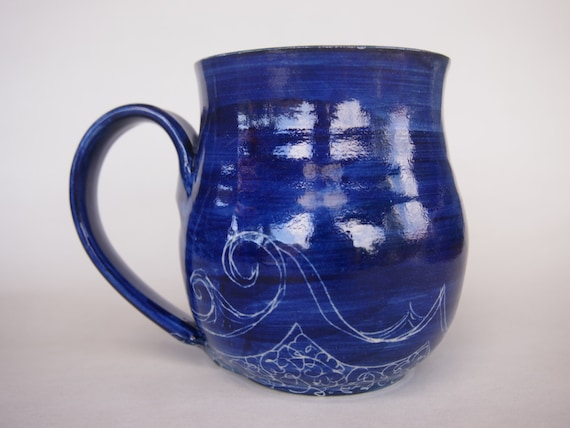 Unique Coffee Mug Ocean Waves Pattern Cup By Avalonpottery