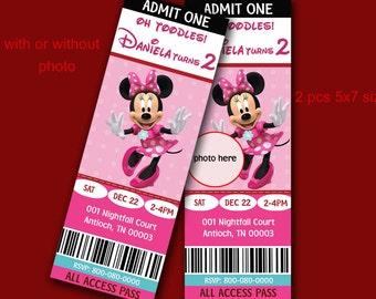 Minnie Mouse Birthday Invitation, Ticket Style, digital (print it yourse4)