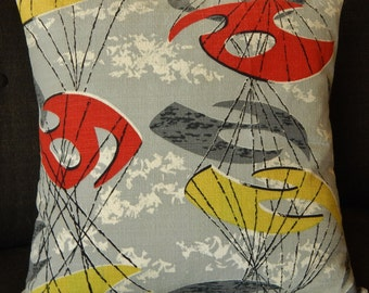 "Atomic Pillow Cover Barkcloth Sputnik ""Omega"" Mid Century Modern Space Age Mad Men"