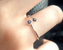 14k Gold Filled Evil Eye Ring - Designer Ring, Gold Ring, Pearl Ring, Adjustable Ring, Stacking Ring, Statement Ring, Cocktail Ring