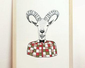 Ram Print Antelope Art Deer Bun Plaid Mid Century Red Green Old Pink Elegant Gentleman Fashionable Stylish Chic Smart Refined A4 8.3x11.7in