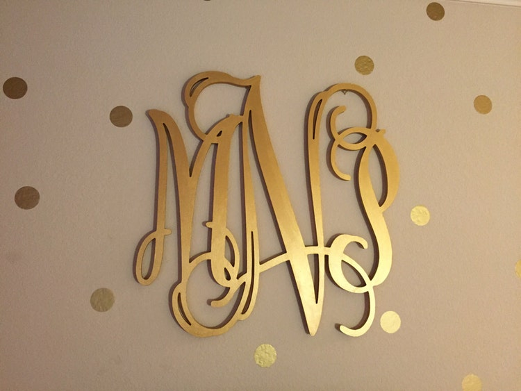 Gold Wooden Monogram Wall Hanging Letters By Craftymonograms