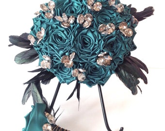 Emerald green Handsewn Satin Rose and Champagne Crystal Bridesmaid Bridal Bouquet