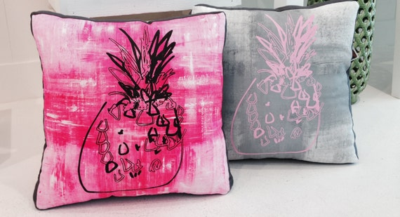 Pineapple Box Cushion Handmade Pop Art Screenprint Double sided Pink charcoal & Grey  / TROPPO Collection