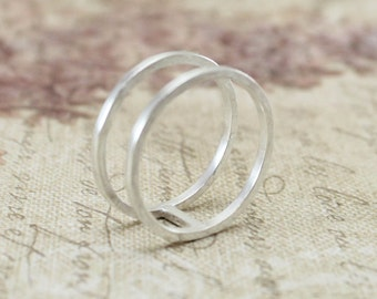 Sterling Silver Double Ring, Silver Cage Ring