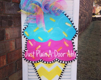 Ice Cream Door Hanger, Summer Door Hanger, Chevron Door Hanger