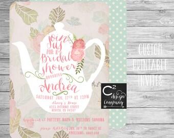 Vintage Floral Teapot Bridal or Baby Shower Invitation