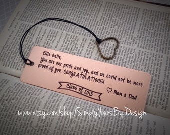 Graduation Bookmark - Personalized Bookmark - Custom Bookmark - Class of 2015 Gift - Daughter Graduation - Son Graduation