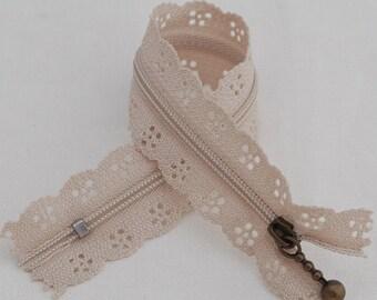 25cm Lace Zipper  - TAUPE