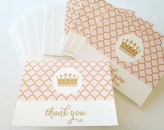 Pink & Gold Princess Party Thank You cards
