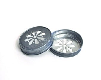 Pewter Daisy lids, Pewter Mason Jar Daisy Cut Lids, Rustic Wedding Table Setting, Party Supplies, Baby Shower, Bridal Shower, Favors, USA