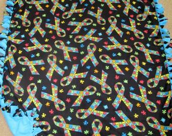 Autism Awareness Ribbon Puzzle Piece Fleece Tie Blanket
