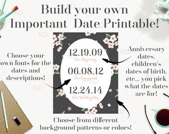 Important Date Art PRINTABLE / build your own important date art / Wall Art / Custom Important Dates / Anniversary Dates Art / Mothers Day
