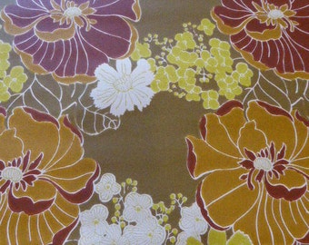 Original wallpaper, vintage 1970, psychedelics flowers, trend and fashion, about 8 meters