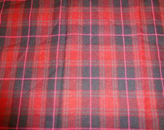 COUPON of fabrics, TARTAN, red black and pink vintage wool