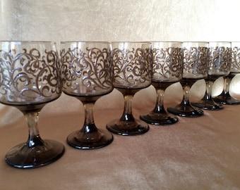 Brown Wine Glasses, Libbey Prado, Brown Scroll, Retro Stemware, Vintage Barware, Thanksgiving, Fall, Holiday Party, 70s Wine, Retro Libbey