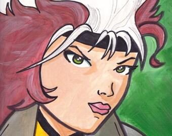 "Rogue X-Men Painting Acrylic  9"" x 12"""