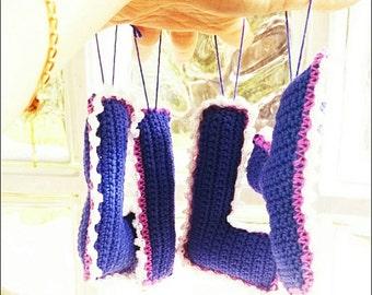 Purple nursery letter hanging,babyname hanging decor,nursery wall/door decor,crochet hanging,letter hanging decor,personalised hanging decor