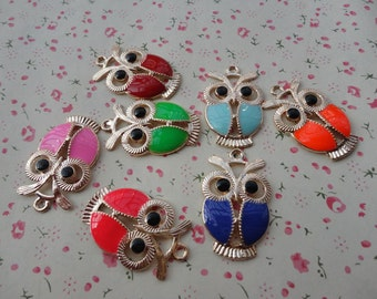 Mixed color--20pcs owl charm pendant 34X21mm