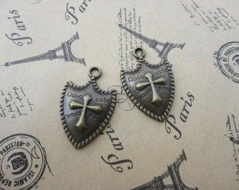 set of 50--antique bronze metal cross shield charm--32x20mm--metal pendant-metal charm