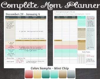 2016 Complete Mom Planner in Mint Chip Color Scheme (Jan 2016 - Dec 2016)