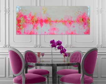 "SOLD! Original Acrylic Abstract Art Painting Large Canvas Pink, Gold, Pastel, Ombre Glitter 16"" x 40"" Real Gold Leaf Resin Coat"