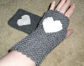 Grey Fingerless Mitts, with White Woven Heart Embellishment, Winter Accessories, Christmas, Valentine Day, Love