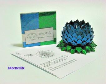 Pack Of 200 sheets Blue Color DIY Origami Lotus Paper Folding Kit for Making 2pcs Medium Size Lotus. (4D Glittering Paper Series). #LPK-13.