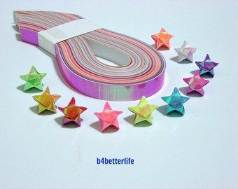Pack of 200 Strips Mini Size Lucky Stars Origami Paper Kits In Assorted Colors. 24.5cm x 1.0cm. (AV  paper series). #SPK-165.