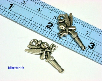 """Lot of 24pcs Double Sided Antique Silver Tone """"Angel"""" Metal Charms. #BC3902."""