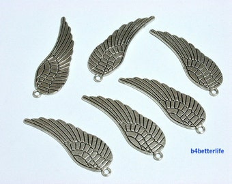 "Lot of 24pcs Double Sided  Antique Silver Tone ""Angel Wing"" Metal Charms. #BC1200s."