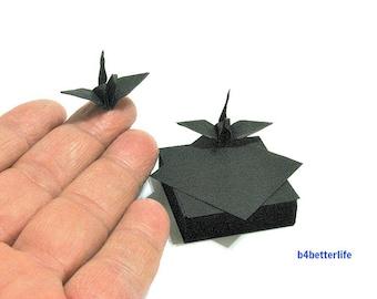 "200 Sheets 1.5"" x 1.5"" Black Color DIY Chiyogami Yuzen Paper Folding Kit for Origami Cranes ""Tsuru"". (KR paper series). #CRK-05."