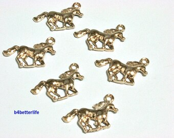 "Lot of 24pcs ""Horse"" Gold Color Plated Metal Charms. #XX244."