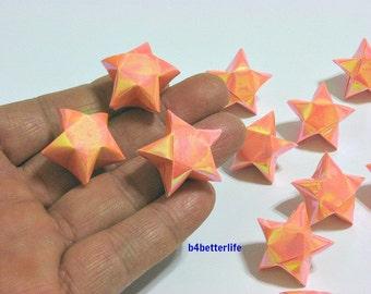 70pcs Big Size Orange Color Origami Lucky Stars. (AV Paper Series).