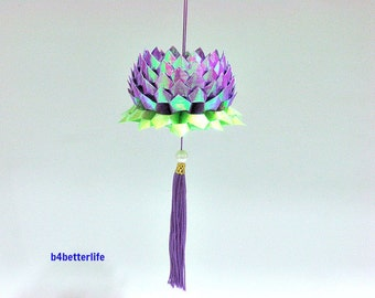 A Piece of Medium Size Purple Color Origami Hanging Lotus. (AV paper series).