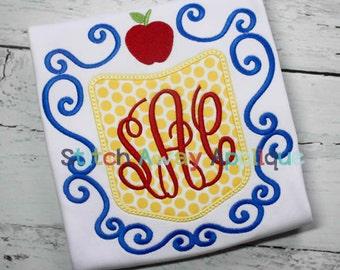 Snow Apple Princess Monogram Frame Machine Applique Design