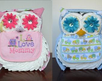 Boy, Girl, or Neutral Owl Diaper Cake - Baby Shower Gift, Centerpiece or Hospital Gift