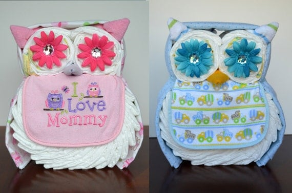 Owl Diaper Cake For Girl Diaper Cake